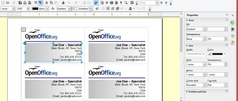 Frugal guidance 2 creating your own business cards in for Open office business card templates